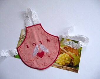 Decorative apron embroidered for wine bottle -wedding decor-home decor -gift for wife - cute gift - gift with love - apron