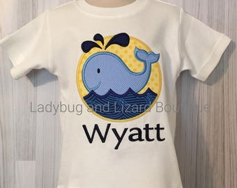Boy's Whale Short Sleeve Top with Monogram Size 12M-18M, 2T-5T, 6
