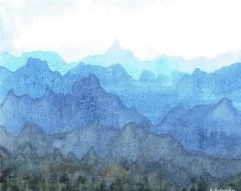 Watercolor Print, Landscape, Wall Decor