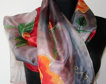 Hand Painted Silk Scarf. Roses scarf. Floral art silk scarf. Shades of  Red, Claret, Orange, Grey, Yellow.