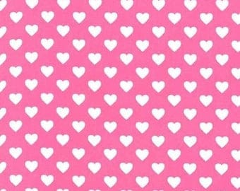SHOP CLOSING SALE Fat Quarter fabric for quilt or craft Michael Miller Hearts All Over in Raspberry Fat Quarter