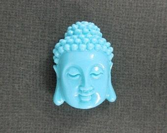 10% off Halloween SALE Turquoise Color Buddha Buddah Bead Beads- Beautiful Budhha Head Bead S24B1-02