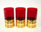 Trader Vic's Red Big Shot Tumblers Set of 3 Tiki Glasses Imperial Glass Co.