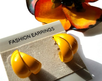Bright Yellow Hoop Earrings, Vintage Enamel Hoops