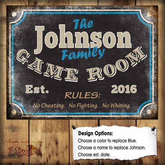 Family game room sign metal sign 12x16 for Home decorating guidelines