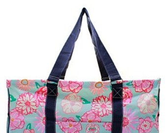 Monogrammed Floral Lilly inspired Utility Tote - Teacher Tote Bag - Beach Bag - Gym Bag - Monogrammed Tote Bag - Custom Utility Car Tote
