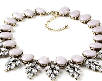 Crystal Flower Taupe Beaded Statement Choker Necklace
