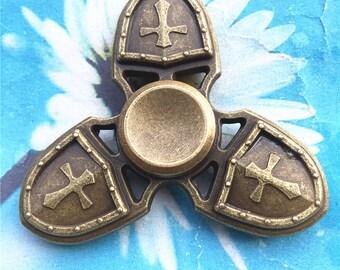 Finger Spinner--Fidget Hand Spinner--Antiqued Bronze-Cross Fidget Spinner--Fidget Toys--Desk toys-Stress balls