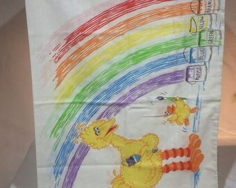 Vintage Sesame Street pillowcase, big bird painting a rainbow big bird pillowcase