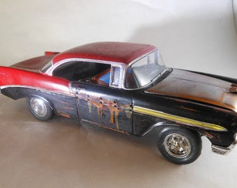 Scale Model Car,Junker Model,Classicwrecks,Rusted Wreck,Red Chevy