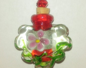 Pink Flower Lampwork Glass Bottle