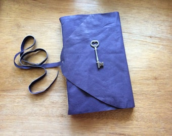 Large Purple Leather Journal with Vintage Skeleton Key-Handmade Leather Book-Journal Gift Idea