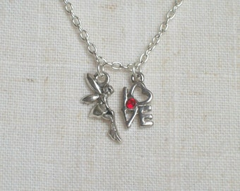 Fairy Love Necklace, Fairy Red Heart, LOVE, Girl's Jewelry, Preteen,Teen, Fairy Wings, Love Letters Charm, Wish, Pixie, Tink, Valentine
