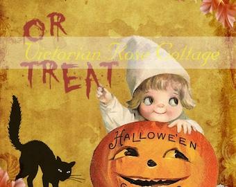 Halloween Greetings  Fabric Block - Art Print