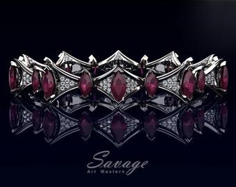 Savage 14K White Gold 15.0 Ct Marquise Deep Red Ruby Diamond Art Nouveau Bridal Bracelet R438B-14KWGDDR