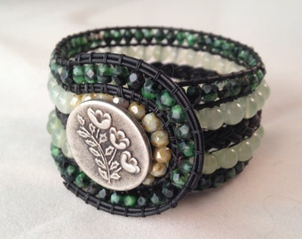 Green Burma Jade Czech Faceted Beads Black Leather Cuff Bracelet Pewter Button