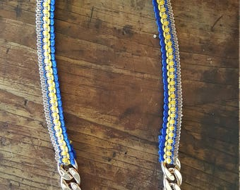 Royal Blue Yellow and Rose Gold Indian ribbon Necklace