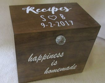 Wood Recipe Box- 4 X 6 or 5 X 7 Wooden Recipe Box - Recipe Storage Box - Kitchenware - Recipe Keeper - Personalized - Keepsake Box - Gift