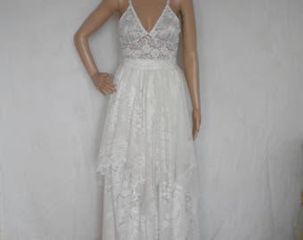 wedding dress boho wedding dress lace wedding dress beach wedding dress fairy woodland wedding dress made to order