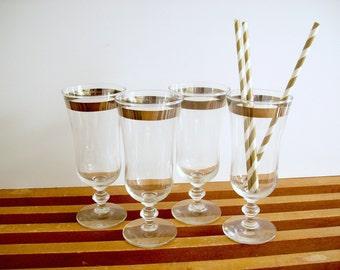Silver Band Cocktail Glasses, Stemware, Vintage Silver Rim Glasses, Goblets, Parfaits