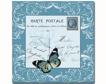 Vintage French postcard collage art print