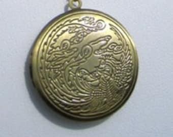 Brass Locket, Dragon Design, Antique Brass
