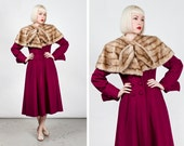 RESERVED Vintage 1940s Cranberry Wool Princess Coat with Mink Cape Collar