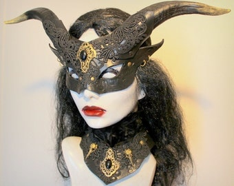 Womans Black Satyr mask and collar