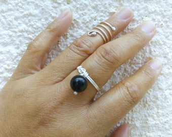 Black Ball Dangle Ring. Simple Statement Ball Ring. Onyx Ring. Sterling Silver Ring. Handmade Jewelry.
