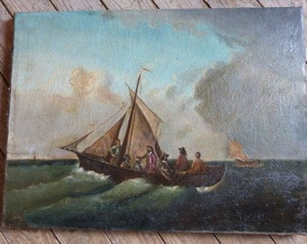 Antique French signed oil painting on canvas marine sea boat w fishermen painting LARGE 1800s oil on linen European art painting