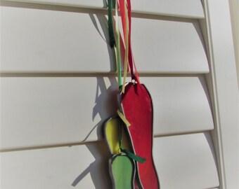 """Stained Glass Vivid """"Chili Pepper Trio"""" Suncatcher -  Unique Southwestern Deco - Fiesta - Themed Decoration"""
