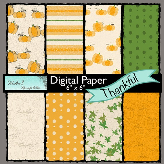 We Are 3 Digital Paper, Thankful