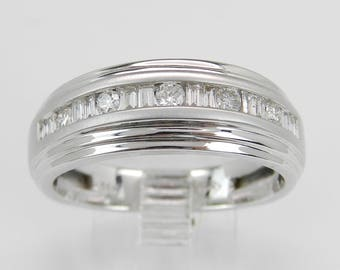 Men's Diamond Wedding Ring Anniversary Band 14K White Gold Size 10