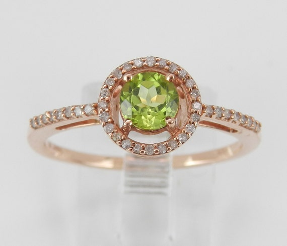 Peridot and Diamond Halo Engagement Ring Promise Ring Rose Gold Size 8 August Birthstone