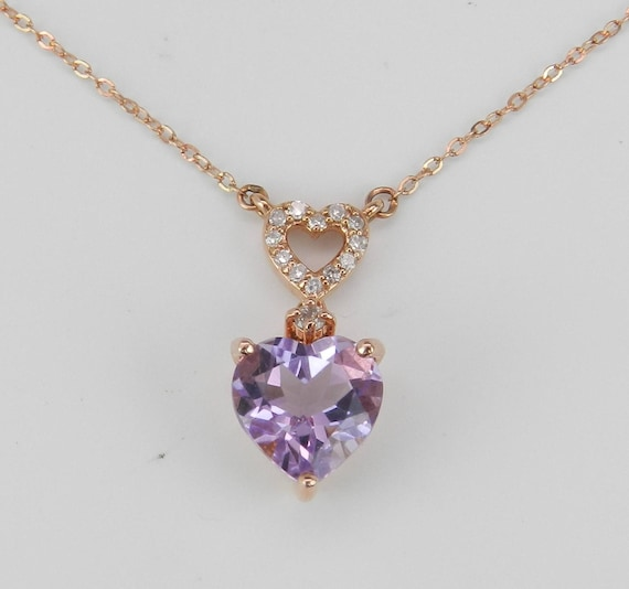 "Diamond and Heart Amethyst Drop Pendant Necklace 16.5"" Chain 14K Rose Pink Gold"