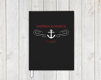 Nautical Anchor Wedding Guest Book in Black Red and White - Personalized Traditional Guestbook, Journal, Album