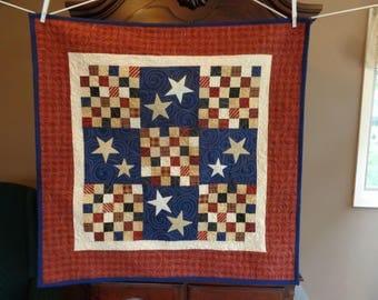 Patriotic Cream Stars Quilt 39  inch, Americana  Quilt 0521-02