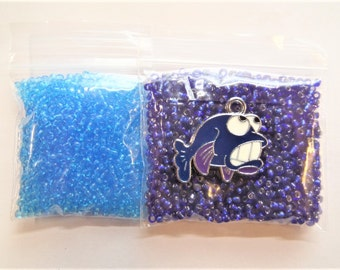 22g total bead weight. Light and Dark blue seed beads under 2mm plus fish charm  S48X
