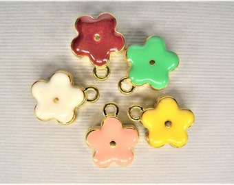 13mm, 5CT, Gold Toned Enamel Flower Charms, Y53
