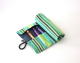 Green, Yellow, Blue striped Kikoy Fabric Crayon Roll, Crayon Organizer, Take-along Crayons