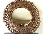 Vintage Bohemian Brown Macrame Mirror