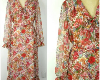 Parues Feinstein Layered Sheer Floral Dress