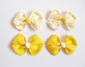 Yellow Mini Hair Bows - Spring Vines One Size Nylon Headbands - Small Pig Tail Bow Set Grosgrain Hair Clips