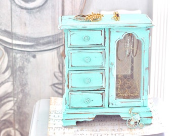 Vintage Jewelry Box Armoire Aqua Blue Handpainted Jewelry Box Shabby Cottage Jewelry Box