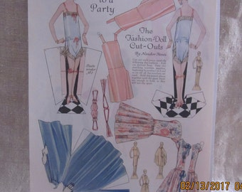 Vintage 1920s Paper Dolls Sister Nell Goes To A Party,  1920s paper doll, McCalls Magazine, November 1925, McCalls Patterns, 1920's fashion