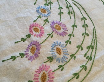 "Pure Linen Hand Embroidered Tablecloth  Vintage Pink Lavender Blue Green Table Cover Handmade Springtime Tablecloth 52"" Square"