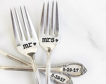 Mr. and Mrs. Fork Set for the Bride and Groom. Hand Stamped with wedding date. Customized for your wedding day. Perfect engagement gift.