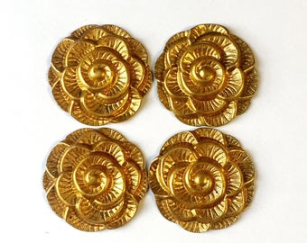 Vintage Flowers, 4 Piece Lots, Flower Stampings, Vintage Jewelry, Jewelry Making, Gingerbread Brass, Bsue Boutiques, 36mm, Item02163