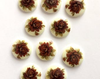 Vintage German Cameos, 10 Piece, Floral Roses, Porcelain Cameos, Decal Transfer, Vintage Jewelry Supplies, 20mm, B'sue Boutiques, Item02531