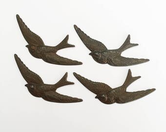 Swooping Birds, 4 Pieces, Bird Jewelry, Jewelry Making, Rusty Black Patina, Birds, Us Made, Nickel Free, Bsue Boutiques, 38x81mm, Item02563